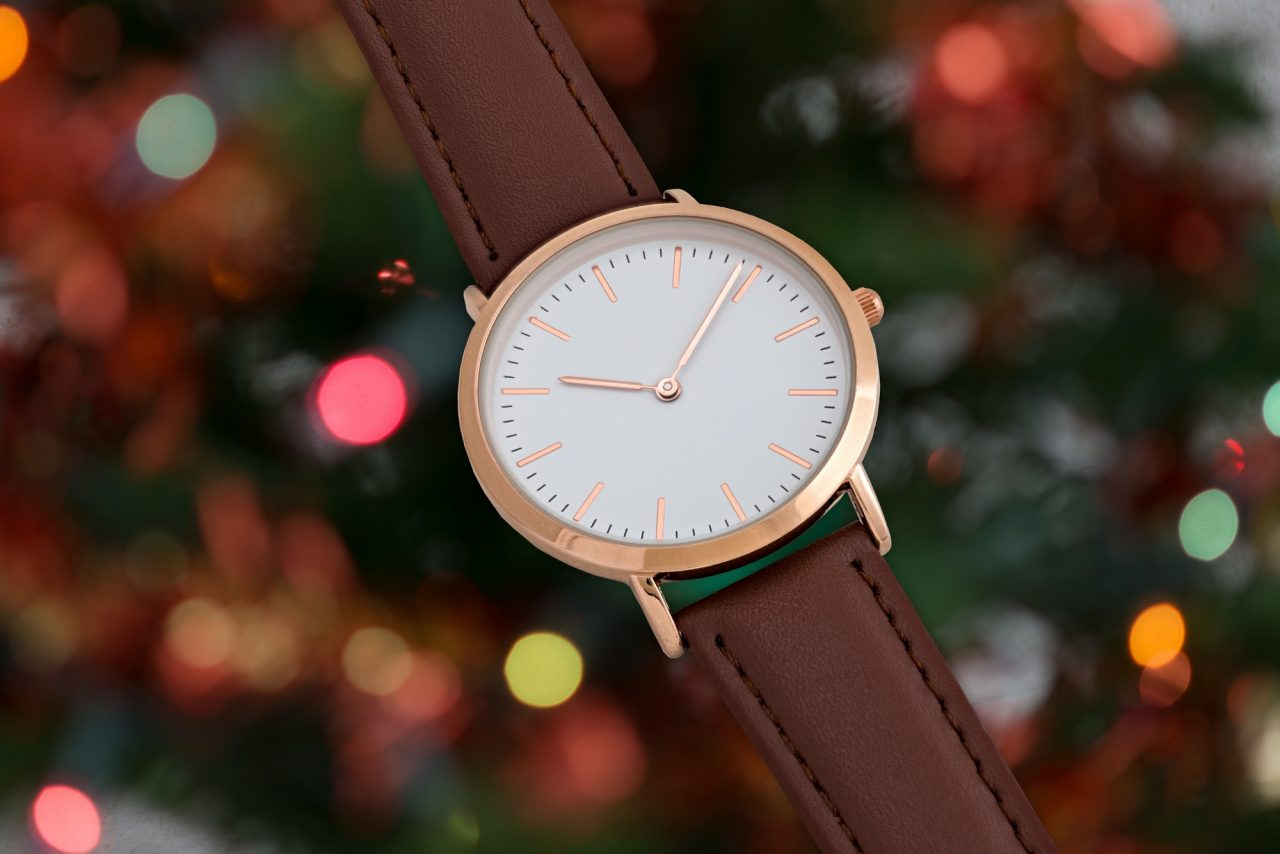 Brawn leather strap wrist watch in Christmas time