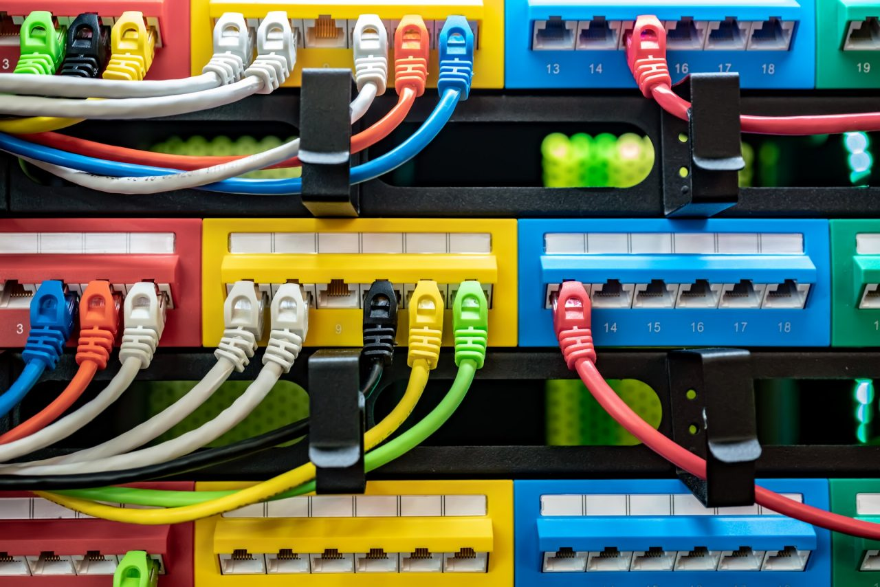 Colorful Telecommunication Colorful Ethernet Cables Connected to